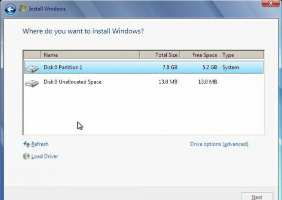 choose which drive to install windows 7