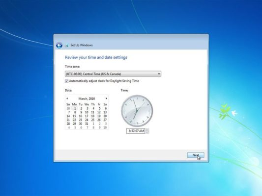 set timezone windows 7