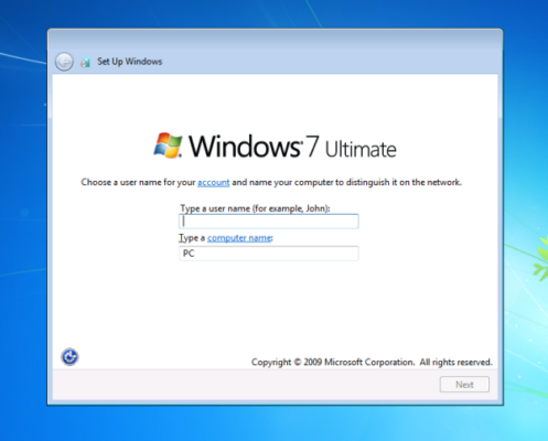 username and password setup in windows 7