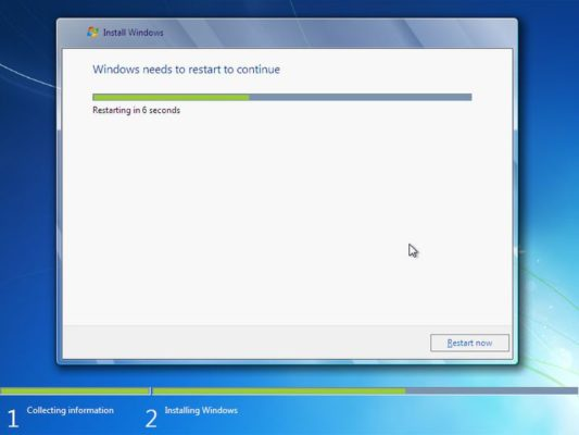 windows 7 reboots after installing